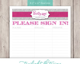 Thirty-one Party Sign-in Sheet - PDF, Printable, Template ( Consultant, Thirty One, 31, Vista Print )