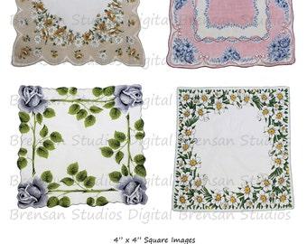 "4"" Vintage Hankies - Sheet 2 of 3,  4inch Squares, 4 images, Instant Download Digital Collage Sheet of Vintage Handkerchiefs"
