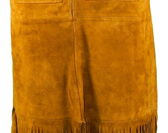 1960s Small Skirt Fringed Hippie Indian Native American Boho Cowboy Western South Cowgirl Ranch Buckskin Festival Coachella Suede Leather