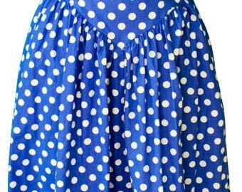 1980s Small Dress Blue White Polka Dot Strapless A Line Circle Skirt Pin Up 1950 Minnie Lolita Medium Large Plus Size Kawaii Doll Rockabilly