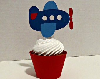 Airplane Cupcake Wrappers and Toppers - set of 12