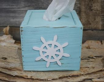 Tissue kleenex box cover holder nautical beach bathroom decor - Beach themed tissue box cover ...