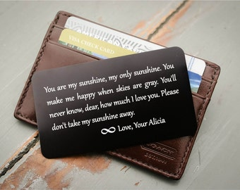 Engraved Wallet Insert, Personalized Wallet Card, Metal Wallet Insert, Engraved Wallet Card: Valentine's, Stocking Stuffer, Groom's Gift