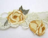 Yellow Rose Embroidered Applique