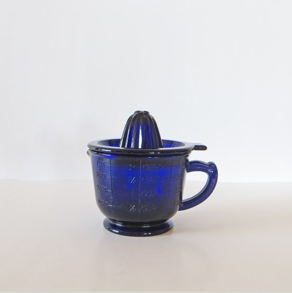 Cobalt Blue Glass Measuring Cup Juicer Retro Kitchen Heavy