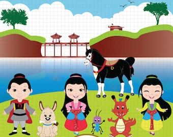 Mulan clipart, Princess Mulan clipart, Fairytale clipart, Cute Princess clipart, Fairy tale clipart