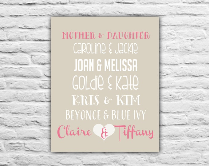 Christmas Gift For Mom - Mother's Day Gift, Mother and Daughter Art Print, Personalized Long Distance Relationship Quotes Mother's Day