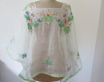 Hand Embroidered Kimono Style Tunic Size S-L