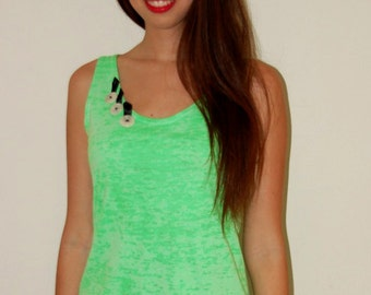 Burnout Tank top Poly/Cotton Neon Green, Burnout Tank Top