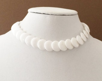 White Disc Bead Choker Necklace 16""