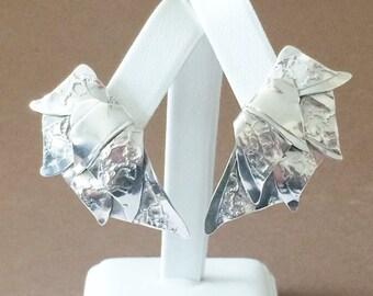 """Lucas Sterling Silver Textured Leaf Earrings 1 3/4"""""""
