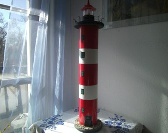 great lighthouse, with light red, white, recycled, handmade by himmeldurchnadeloehr