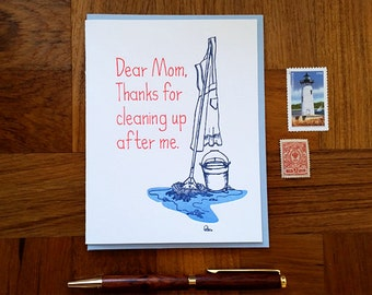 Happy Mother's Day, Mom Cleaning Thank You, Folded Letterpress Card, Blank Inside