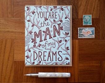 Dream Man, Letterpress Note Card, Blank Inside