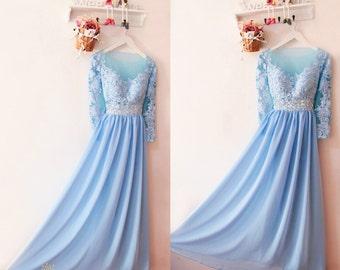 Blue long sleeve prom dress