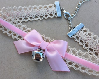 Kitty Bell Chokers - Pink