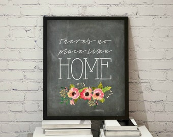 Theres No Place Like Home Cahlkboard Floral Digital Print Instant Art INSTANT DOWNLOAD