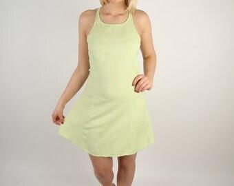 Pale Yellow Green Dress / Short Linen Dress / Light Mini Dress / Womens Summer Dress / Size Small