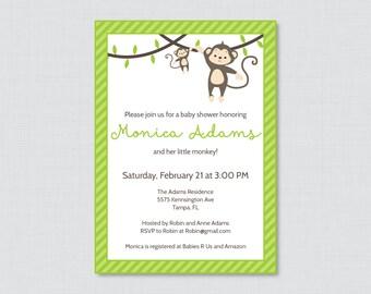 Monkey Baby Shower Invitation Printable Invite - Monkey Baby Shower Invites in Green and Stripes Baby Boy Neutral Monkey Invitation - 0009-G