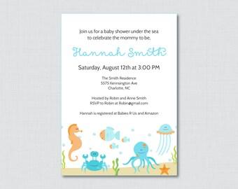 Under the Sea Baby Shower Invitation Printable or Printed - Under the Sea Baby Shower Invites Blue - Boy Baby Shower Invitation - 0020-B