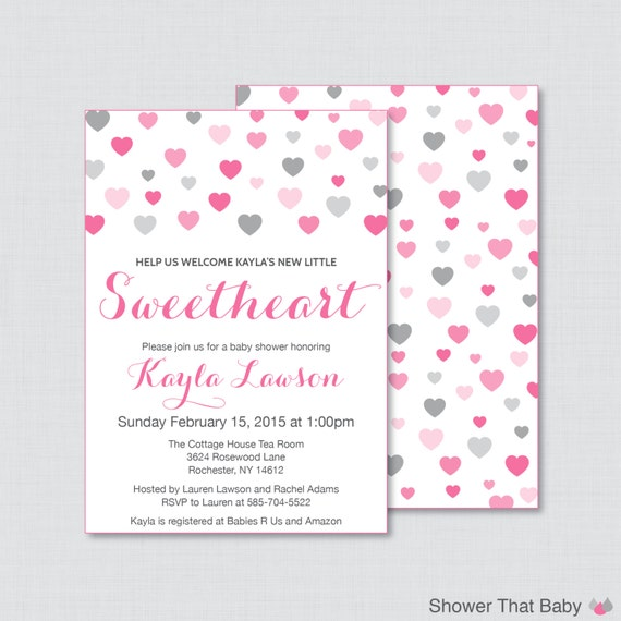 baby shower invites in pink and gray hearts baby shower 0012 b