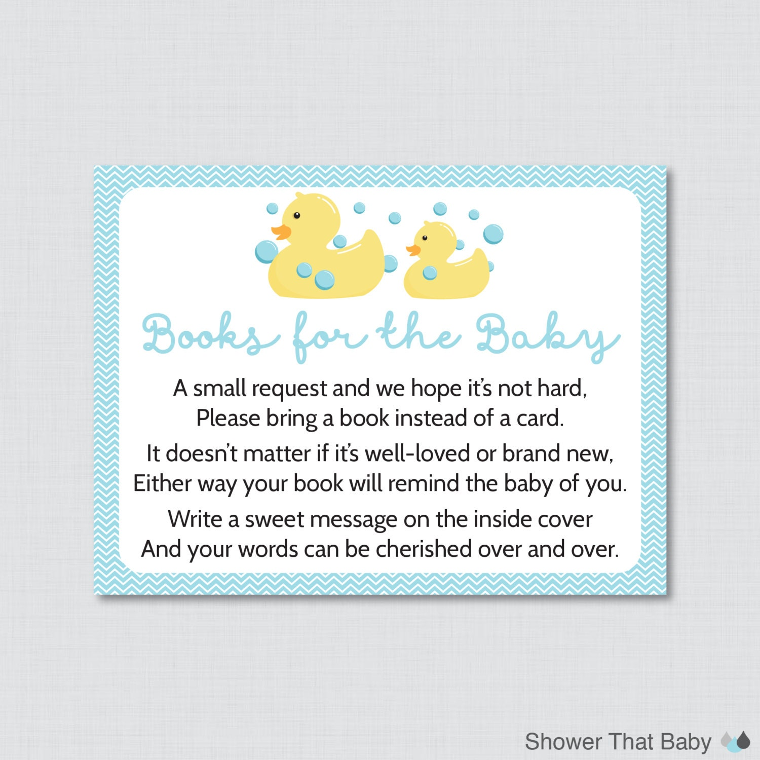 Rubber Ducky Baby Shower Printable Bring a Book Instead of a