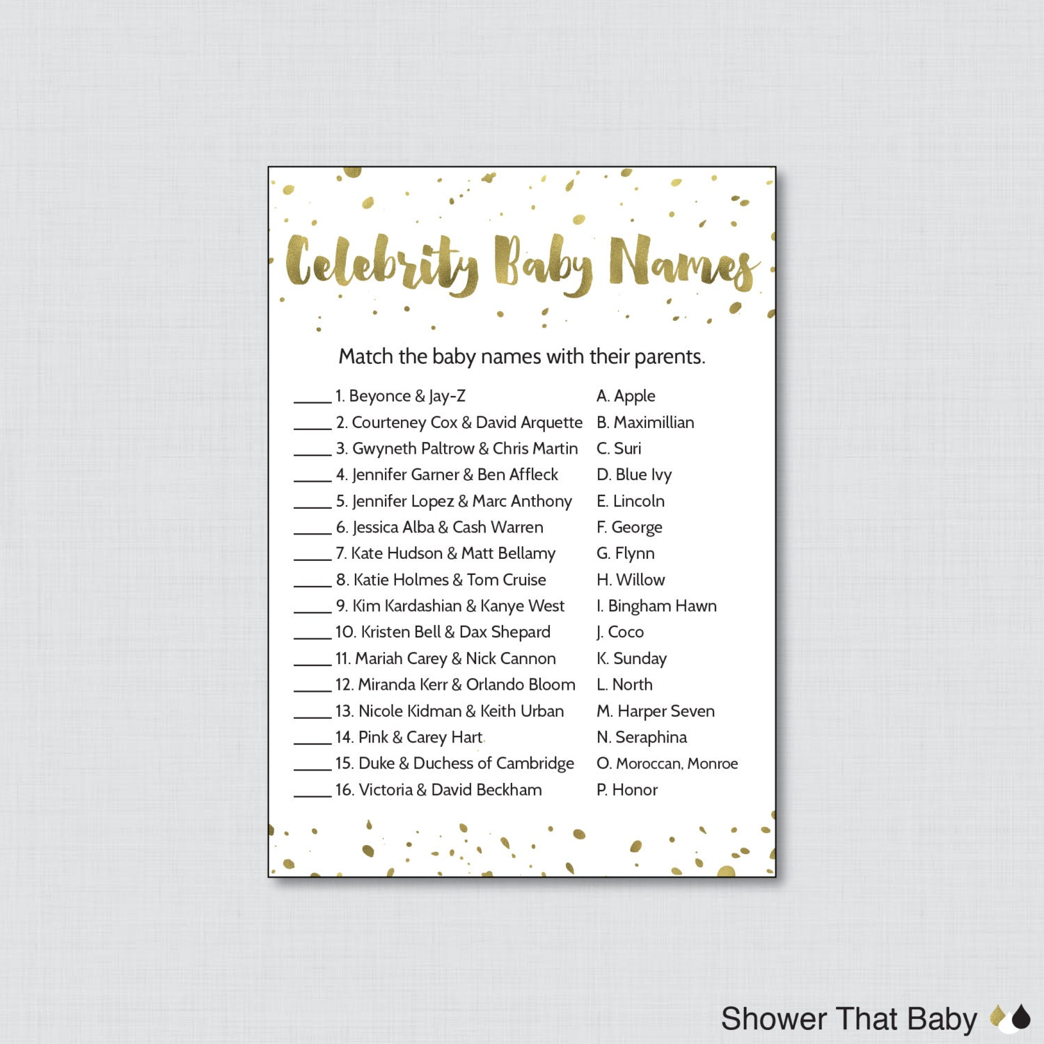 white and gold celebrity baby shower game by showerthatbaby