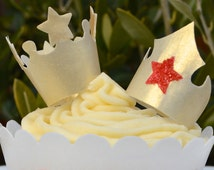 Edible Crowns Tiaras Gold Red Stars 3D - King Queen Princess Prince Superhero Wafer Paper Metallic Cupcake Toppers Birthday Cake Decorations