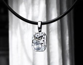 Steampunk BDSM Necklace vintage silvered Soviet watch pendant wedding birthday anniversary Gift for woman wife daughter girlfriend girl