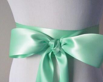 Mint Green Ribbon Sash / Double Faced Ribbon Sash / Bridal Sash  /Bridal  / Mint Green