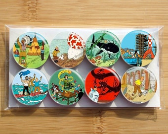 Tintin Magnets The covers, Snowy, Captain Haddock  - Set of 8 magnets - 1 inch each - wrapped in cello bag - Strong magnets