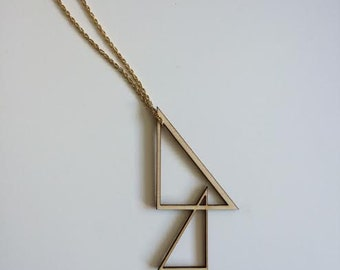 Wooden Geometric Statement Necklace Pendant