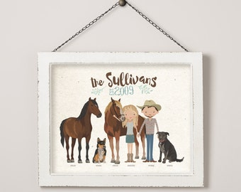 Custom Illustrated Country Family Portrait 8 x 10 11 x 14