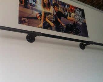 Industrial Pipe Hang Bar - Clothing Display - Black Pipe - Wall Fixture