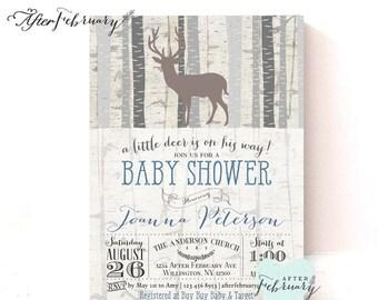 Woodland Baby Shower Invitation Baby Boy Shower Invite Deer Shower Birch  Deer Trees Rustic //