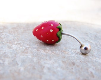 Unique strawberry belly ring, handmade titanium belly ring, handmade strawberry, polymer clay, handmade strawberry belly ring,