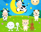 Hey Diddle Diddle Clipart , Cow Clipart, Nursery Clipart, Nursery rhyme clipart