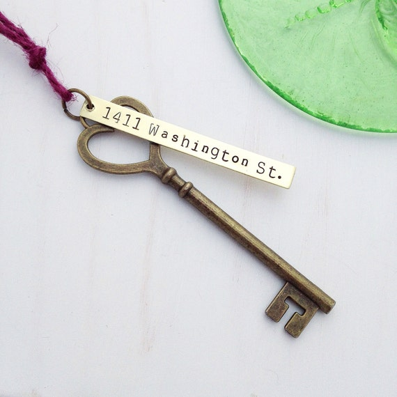 First Home Ornament Custom Hand Stamped Wedding Skeleton Key