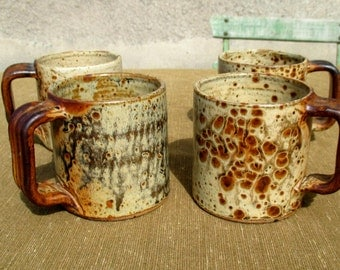 Set of 4 French stoneware cups, 70s heavy studio pottery, handmade / hand made and signed