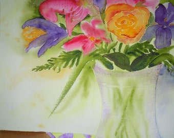 Bouquet on Pinwheel Quilt Watercolor Notecard