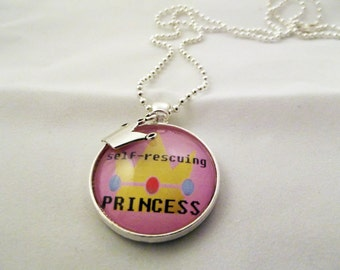 Self-Rescuing Princess Necklace, Crown Charm Necklace, Gamer Girl Necklace
