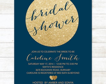 gold navy bridal shower invitation, navy gold glitter printable modern bridal shower digital invite, customizable