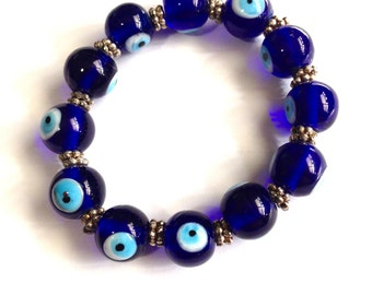 Cobalt Blue Evil Eye Handmade Bracelet