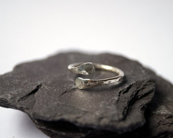 Hammered Crossing Midi - Ring ~ sterling silver, midi, modern, statement, knuckle