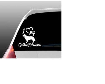 I Love My Golden Retriever/Golden Retrievers Car Window Decal