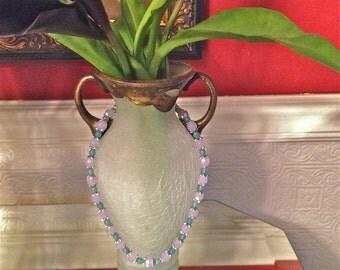 Necklace, Alexandrite JuneGemstone, Aquamarine MarchGemstone, Silver Beadcaps, ColorChange, Matching Bracelet
