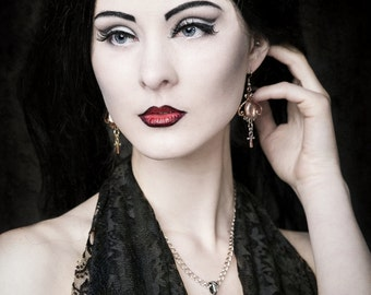 VAMPIRE ANKH SETNAKH cross gothic dark jewelry night vampiria, ritual, occult, blood, blade, fangs, bela lugosi, dracula, true blood,