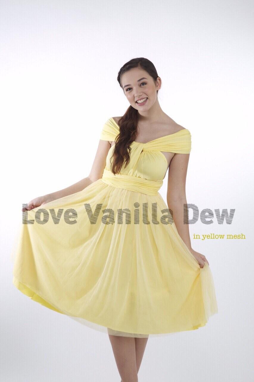 Bridesmaid dress infinity dress lemon yellow tulle knee length zoom ombrellifo Image collections