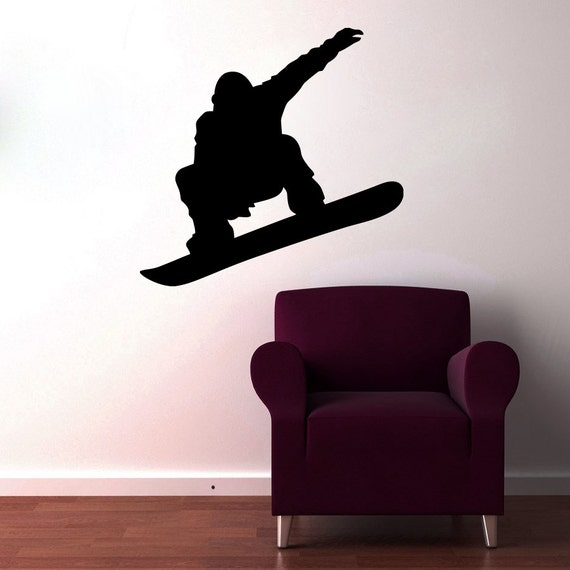 Wall decals snowboard decal vinyl sticker boy nursery by for Snowboard decor