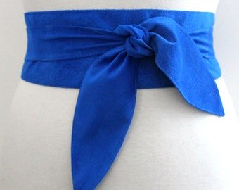 Blue Suede Obi Belt | Gift for her Blue Suede Belt | Obi Belt | Suede Sash Belt | Suede Leather Belt | Blue Wrap Belt | Plus size Accessory